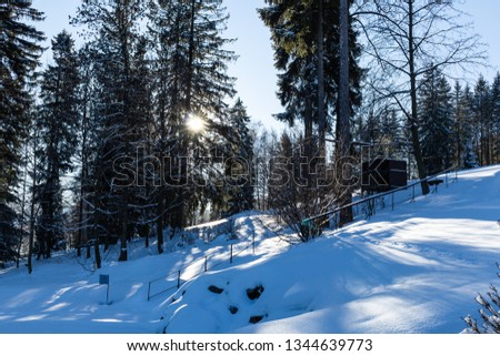 Majestic winter landscape glowing by sunlight in the morning. Dramatic wintry scene. #1344639773