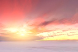 Majestic winter sunset over the Chudskoy lake. Estonia.