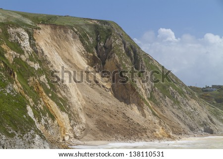 Major cliff collapse landslide on the Jurassic shore, Dorset, UK destroying the coastal path and discolouring the sea