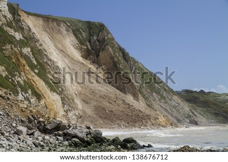 Major cliff collapse landslide with foreground rock fall on the Jurassic shore, Dorset, UK destroying the coastal path and discolouring the sea