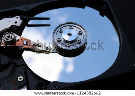 Major components of a 3.5-inch SATA hard disk drive (HDD): platter, spindle, actuator, actuator arm