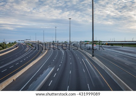 Major highway in the early evening in Toronto, Canada stock photo