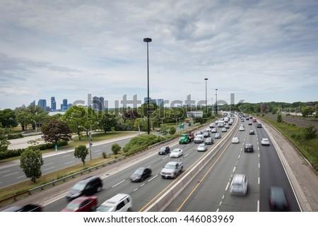 Major highway in Toronto, Canada stock photo
