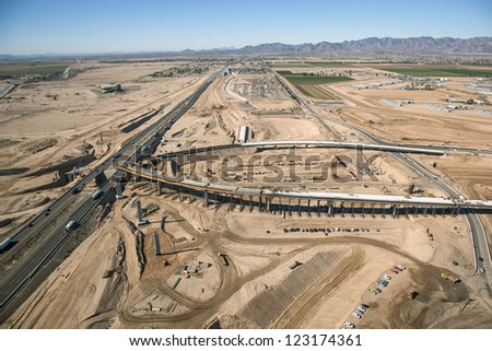 Major Interstate interchange construction viewed from above