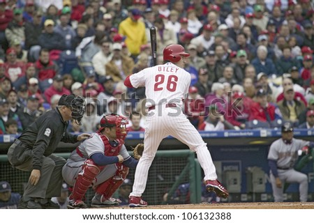 Major League baseball player for the Philadelphia Phillies, #26, Chase Utley, a lefthanded batter, waiting for pitch on March 31, 2008 opening game against Washington Nationals, at Citizens Bank Park