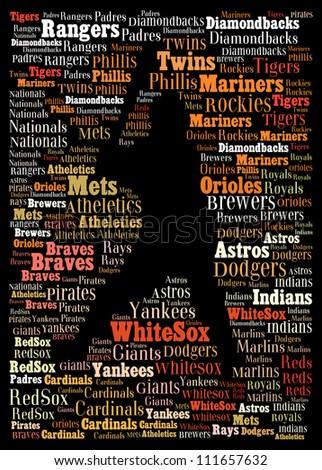 Major league baseball teams: text graphics
