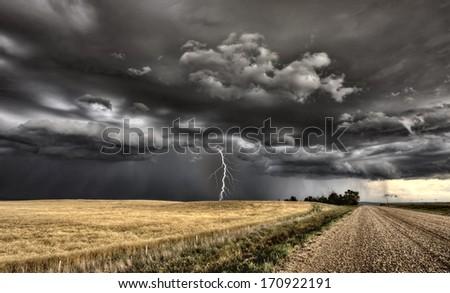 Major Storm Saskatchewan Canada lightnig ominous clouds