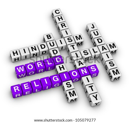 major world religions - Christianity, Islam, Judaism, Buddhism and Hinduism - stock photo