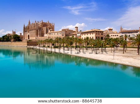Majorca La seu Cathedral and Almudaina from Palma de Mallorca in Spain - stock photo