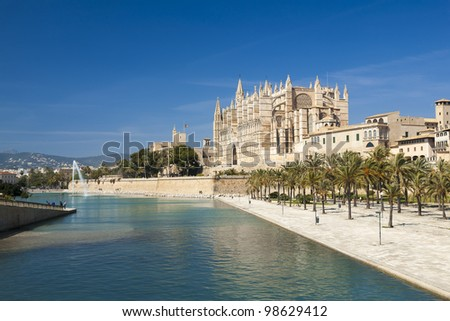 Majorca La seu Cathedral and Almudaina from Palma de Mallorca in Spain
