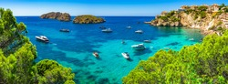 Majorca Panorama, beautiful seascape bay with luxury yachts at the coast of Santa Ponsa, Mallorca Mediterranean Sea, Balearic Islands.