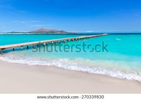Majorca Platja de Muro beach pier in Alcudia bay in Mallorca Balearic islands of Spain Foto d'archivio ©