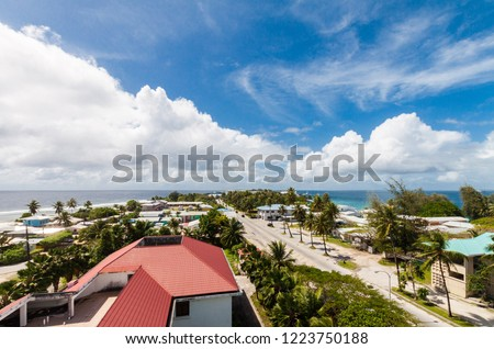 Majuro town centre aerial view, Central Business district, Marshall Islands, Micronesia, Oceania, South Pacific Ocean. Delap, Uliga, Djarrit villages. Azure turquoise atoll lagoon, blue tropical skies