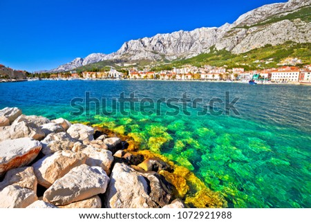Makarska turquoise waterfront and Biokovo mountain view, Dalmatia region of Croatia