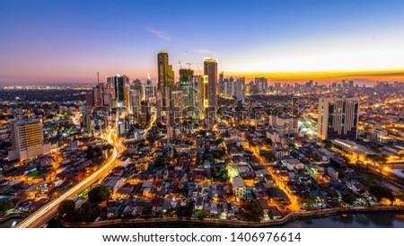 Makati Avenue Cityscape Blue Hour  #1406976614