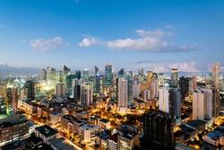 Makati City Skyline at night in Metro Manila - Philippines.