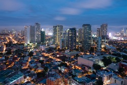 Makati Skyline, Manila - Philippines. Makati is the country`s financial hub. It`s known for the skyscrapers and shopping malls of Makati Central Business District.
