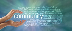 Make a Difference in Your Community Word Cloud - Female cupped hands around the word COMMUNITY and a relevant word tag cloud against a blue green bokeh background