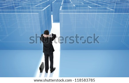 "Make a difficult decision. Achieving the goal. Without the sign ""Welcome"" on the wall. Blueprint. Encounter difficulties. Businessman standing in front of the entrance to the maze."