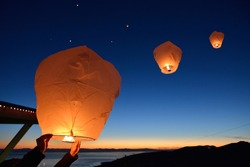 Make a wish, Paper Floating Lanterns release on Grouse Mountain, Vancouver