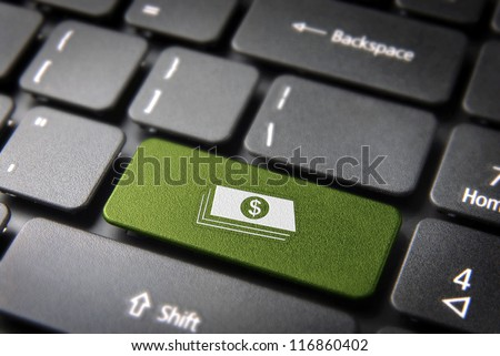 Make money with internet: green key with dollar bills icon on laptop keyboard. Included clipping path, so you can easily edit it.