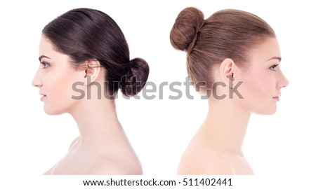 make up and skin care concept - side view of beautiful women with perfect skin isolated on white background