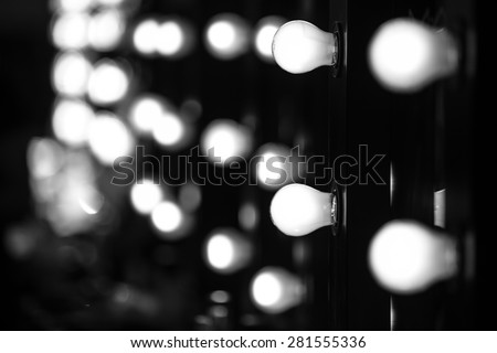 Make-up artists mirrors with light bulbs, Fashion Show themed photo. #281555336