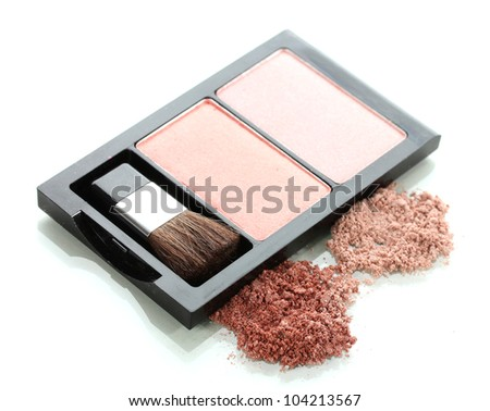 Make-up blusher in box isolated on white