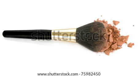 Make-up brush and brown powder isolated on white background