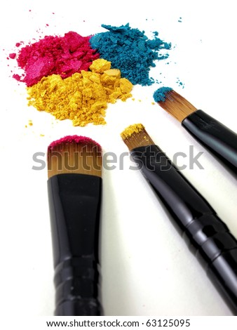 Make-up brush with colorful crushed blush-on and eyeshadow
