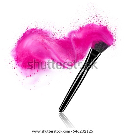 Make up brush with powder splash isolated on white background #646202125