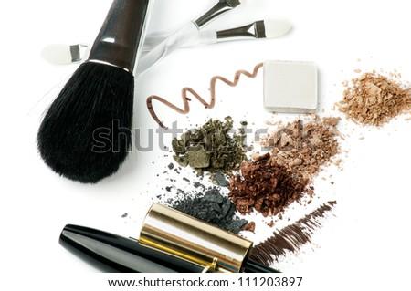 Make up Brushes, Eyeliner, Mineral Eyeshadow and Mascara isolated on white background