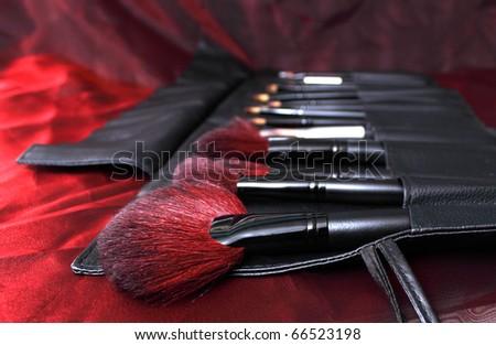 make-up brushes in a handbag