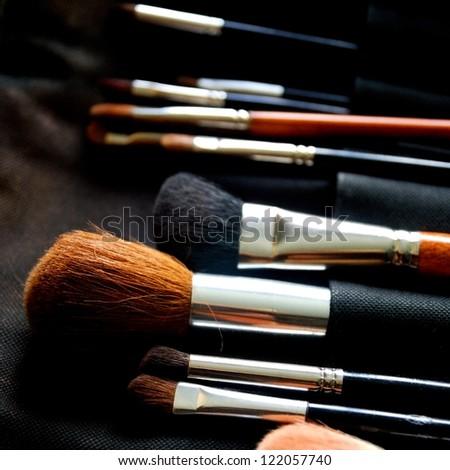Make-up brushes in dark case