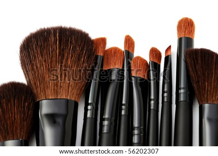 make-up brushes isolated on a white background - beauty treatment #56202307