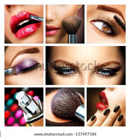 Shutterstock Make-up Collage. Professional Makeup Details. Makeover