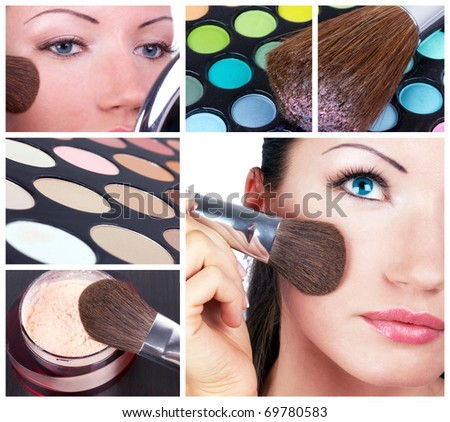 Make-up collage. Woman with make-up brush and make-up tools