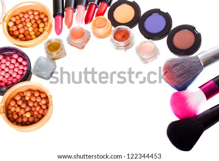 Make up collection isolated on white background