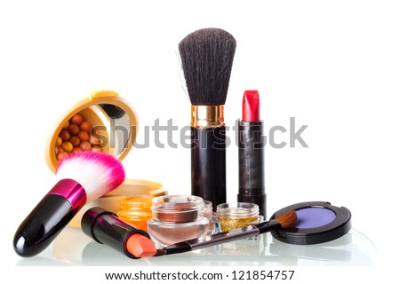 Make up collection on white background - stock photo