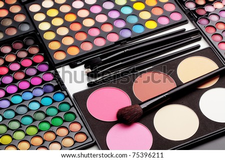 Make-up colorful eyeshadow palettes with makeup brushes