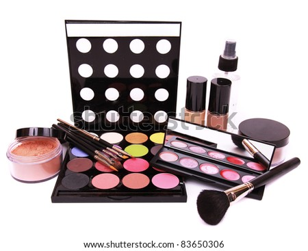Make up equipment, isolated on white background