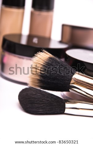 Make up equipment, macro photo on white background