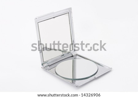 Make up mirror with two mirrors isolated on white