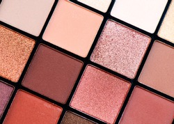 Make up palette set. Professional multicolor eyeshadow palette. Makeup. Professional multicolor eye shadow make-up palette background, close-up. Various Colorful bright eye shadows backdrop