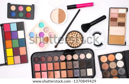 Make up products cosmetics and beauty products for woman on white background  #1370849429