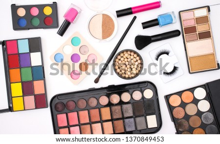 Make up products cosmetics and beauty products for woman on white background  #1370849453