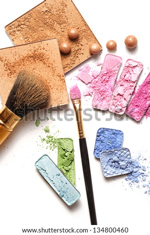 make-up products on white background