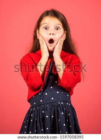 Make wow happen now. Surprised child. Little girl open mouth with surprise. Small kid look with surprise. Got surprise. Surprise and delight. Beauty and fashion. Its shocking.