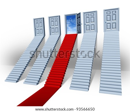 Make your choice business concept with many stairways and stairs leading to closed doors but one path in red carpet is the success direction to an open entrance with a blue sky as financial freedom.