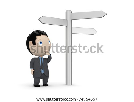 Make your choice! Social 3D characters: businessman looking at crossroads blank plates sign. New constantly growing collection of multiuse images. Concept for making decision illustration. Isolated. - stock photo